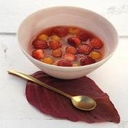 Soupe de Tomates et de Fraises Caramélisées au Muscat et son Sablé