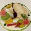 Cabillaud poché aux légumes bio et coulis à la Mizuna