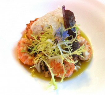 L'Opéra Restaurant - ENTREE Langoustines poelées brunoise de légumes d'été yuzu et amandes fraîches