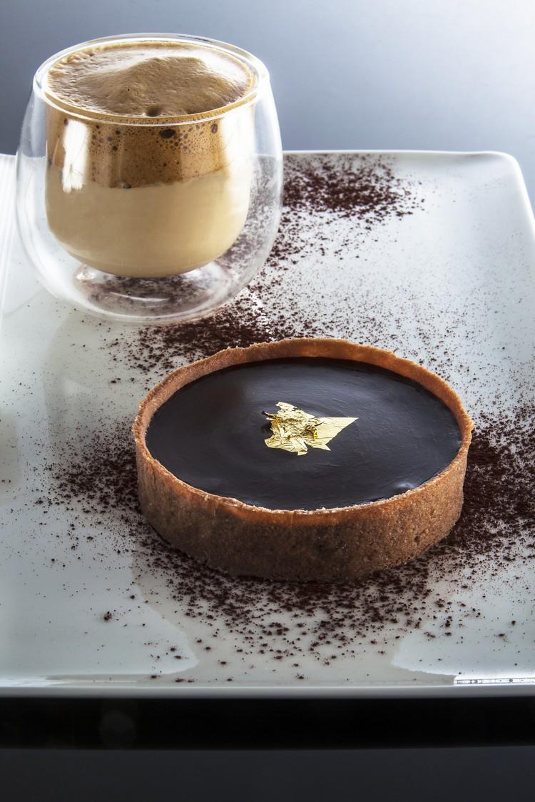 tartelette au chocolat, cappuccino