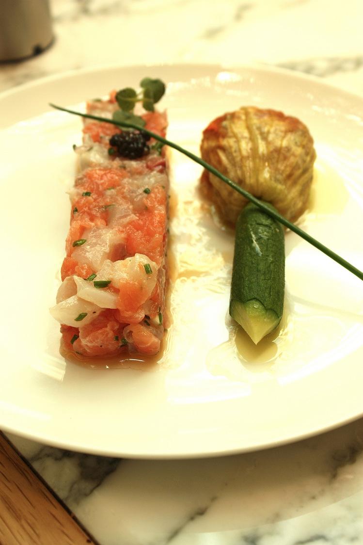 tartare de bar et saumon mi-fumé © P.Faus