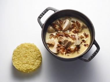 Blanquette de veau au gingembre, pilaf de riz basmati au curry doux