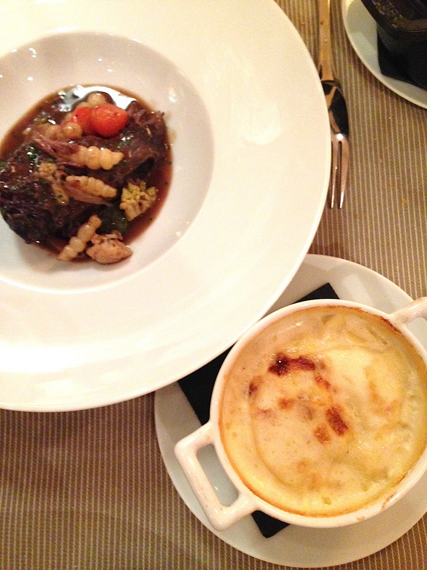Joue de bœuf, crosnes, gratin dauphinois