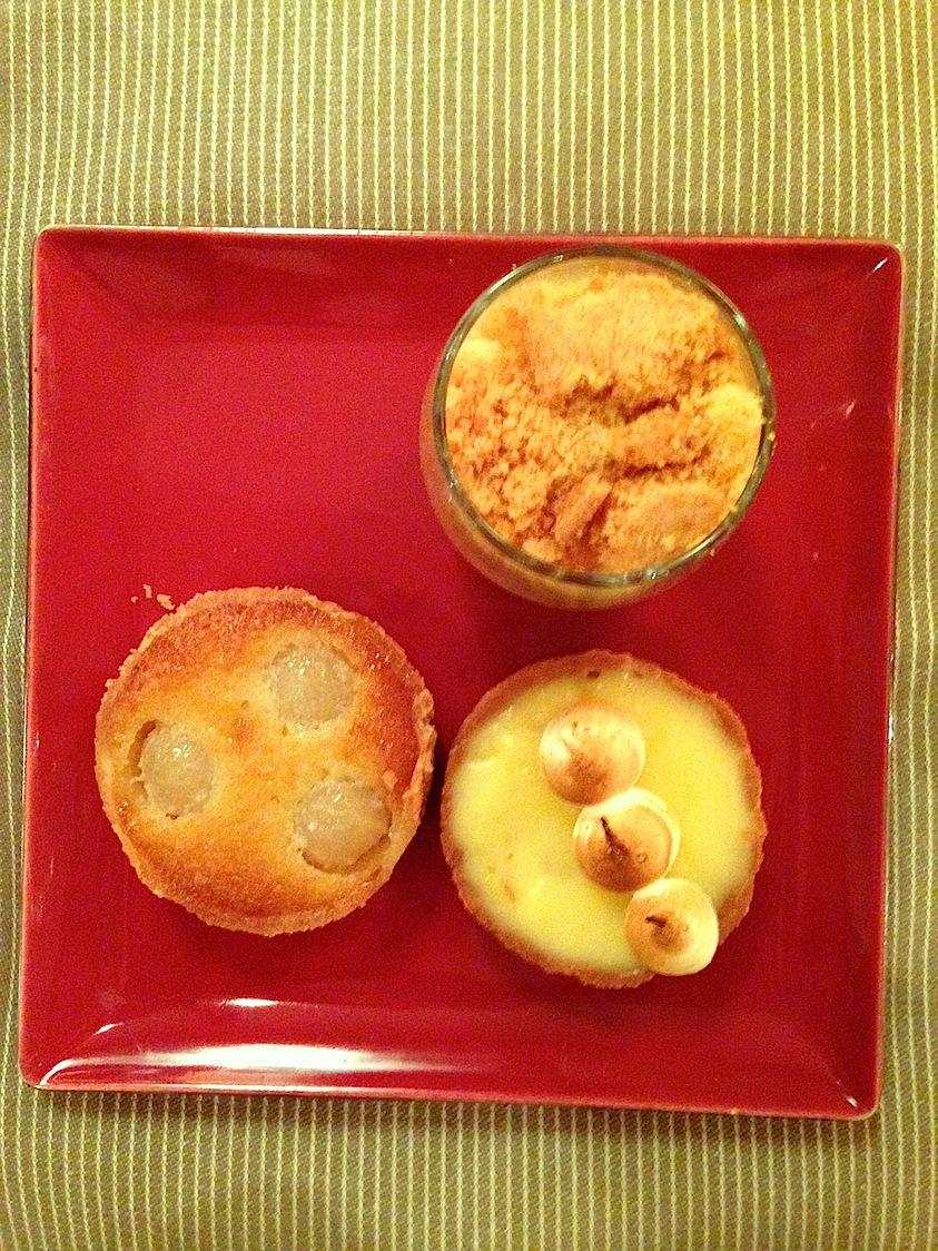 Tartelette au citron; Crumble ; Tarte Bourdaloue