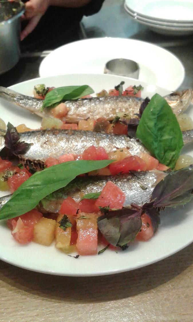 Sardines, légumes