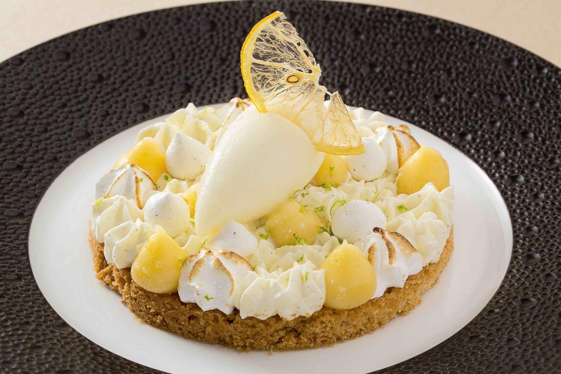 Sablé Breton, crème au citron, sorbet verveine et pastis HB  - copie