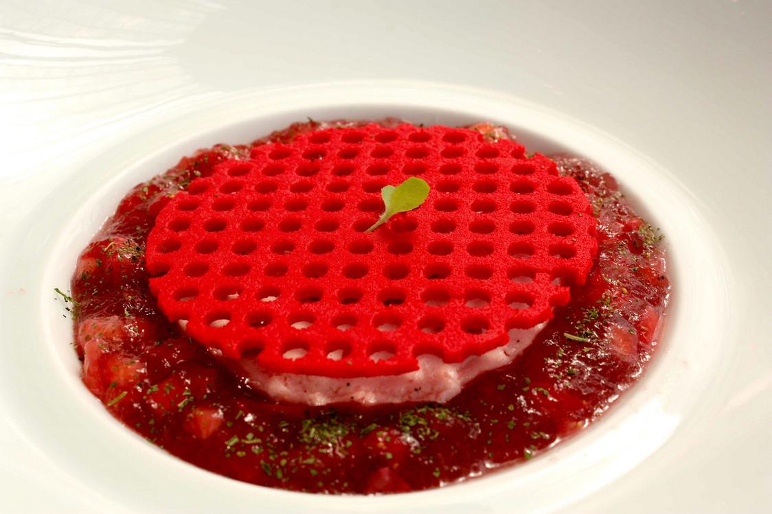Crème agastache, mousse de fraises © Gourmets&Co
