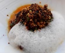 Le Foie gras poêlé, relevé au citron, satay, quinoa du Baltard au Louvre