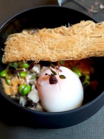 Champignons japonais, œuf parfait, © Gourmets&co