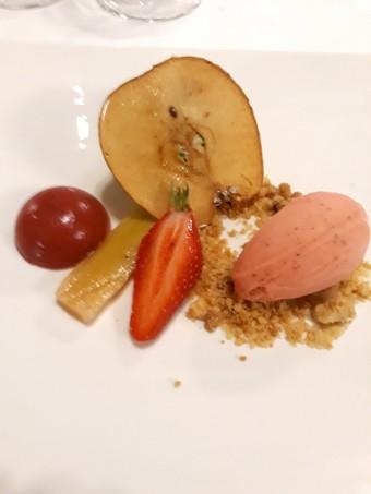 Rhubarbe, pistache, sorbet fraises