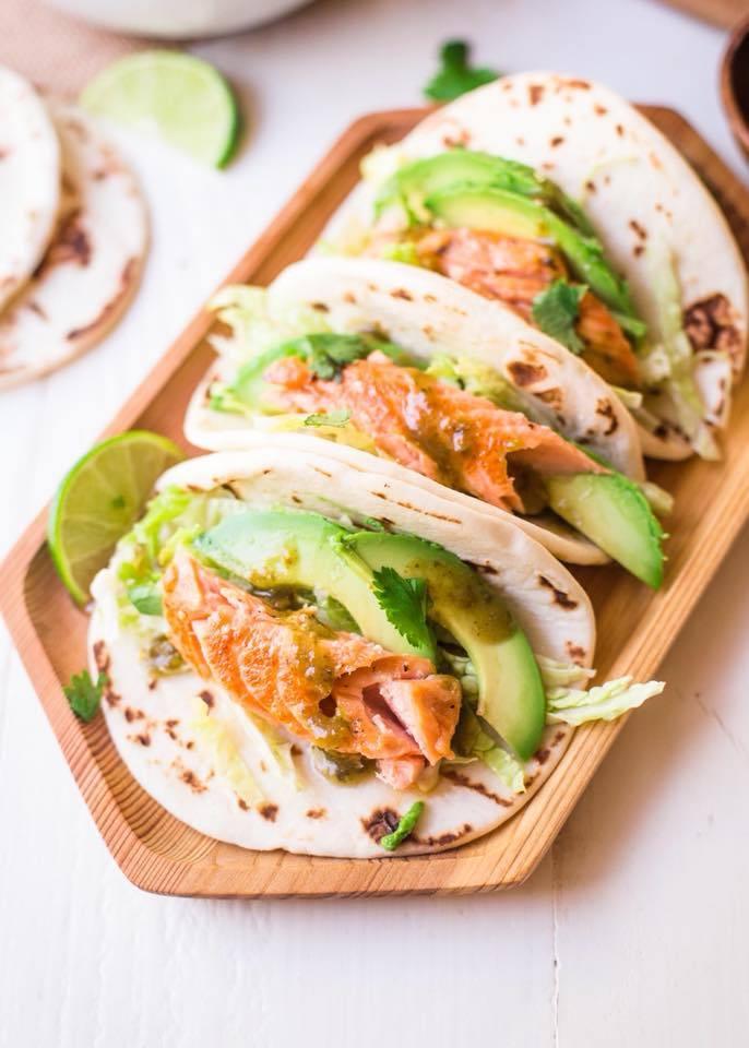 Tacos, avocat, saumon