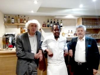 Avec l'ami Albert Nahmias et le chef Jimmy Desrivières du restaurant Pleine Terre.
