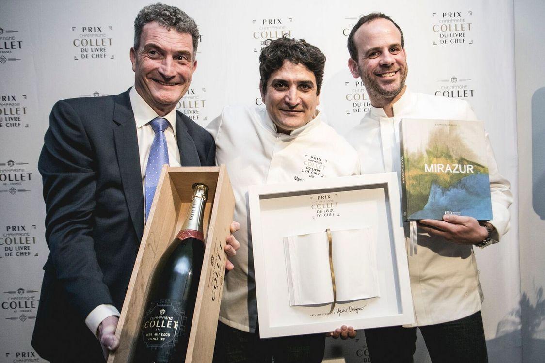 Olivier Charriaud,président des champagnes Collet avec les vainqueurs 2018 et 2017