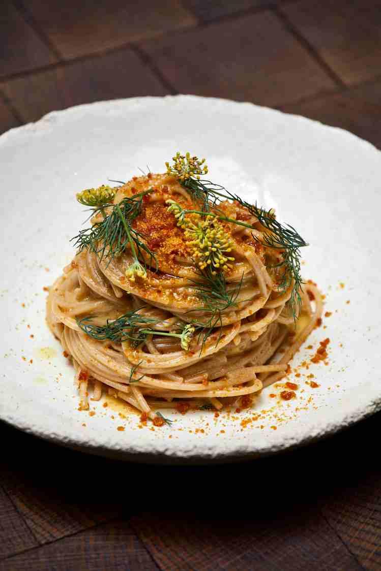 Spaghetti à la farine de Kamut, crème de citron et poutargue - copie