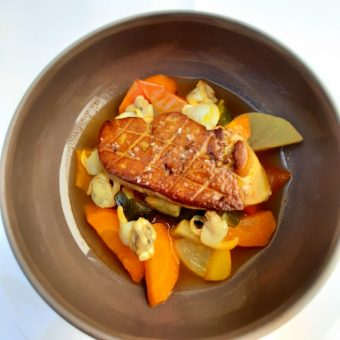 Foie gras poêlé, coques,